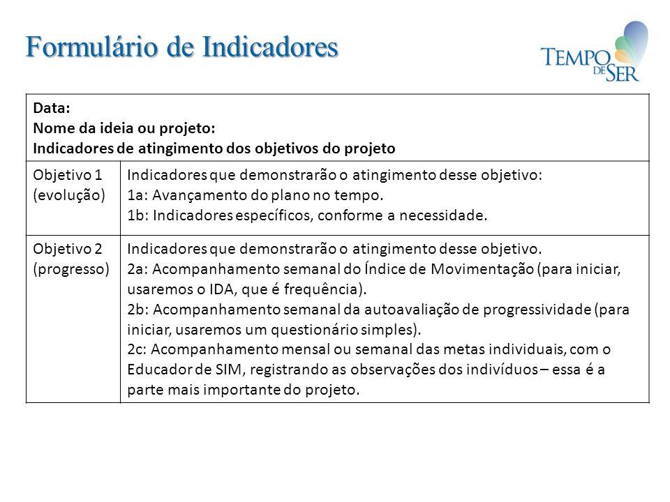 Formulário de Indicadores
