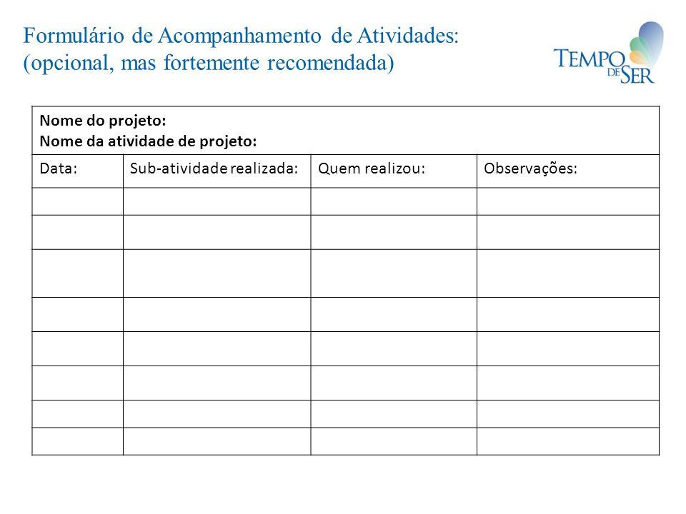 Formulário de Acompanhamento de Atividades: