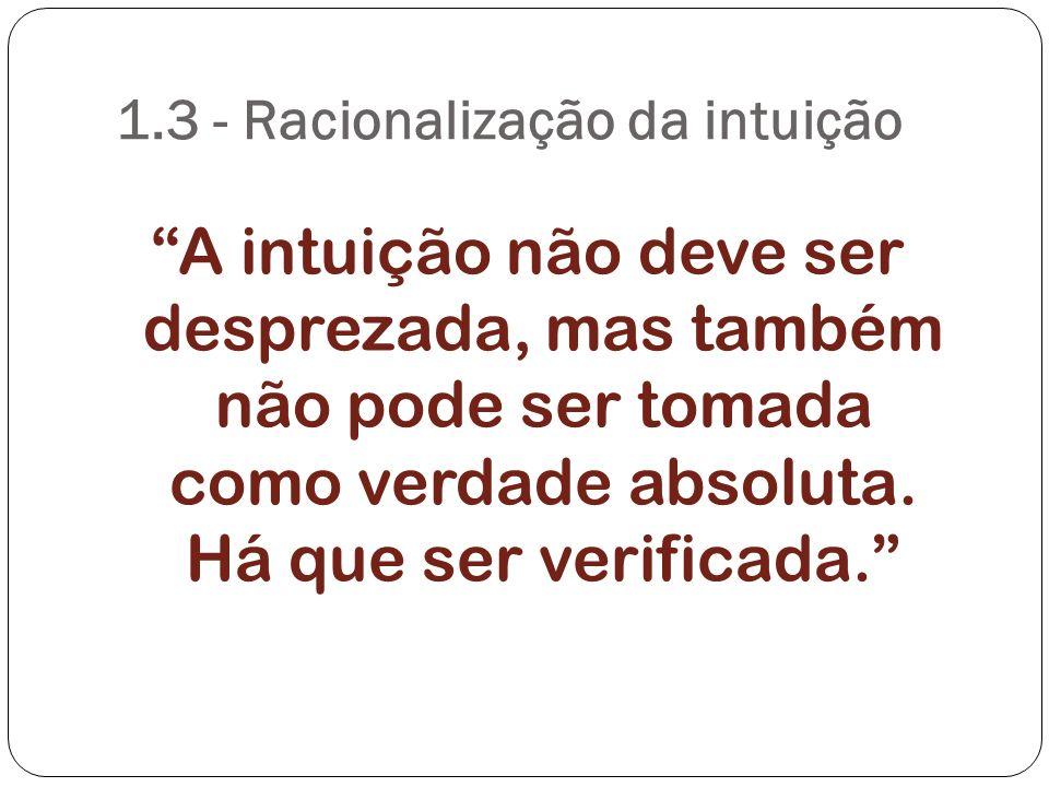 1.3 - Racionalização da intuição