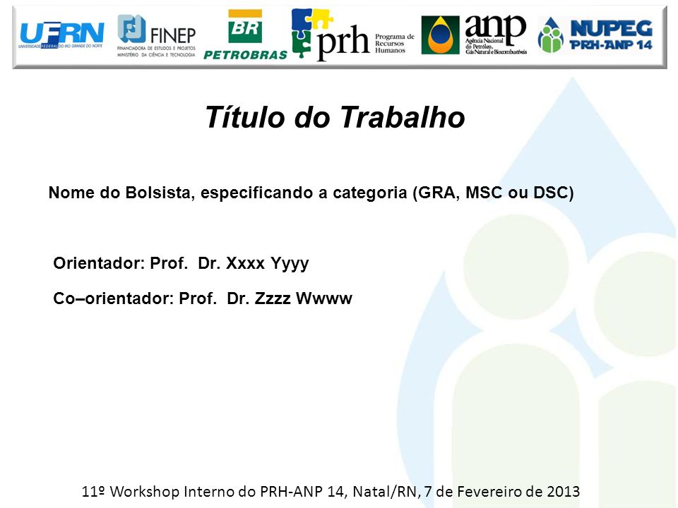 11º Workshop Interno do PRH-ANP 14, Natal/RN, 7 de Fevereiro de 2013