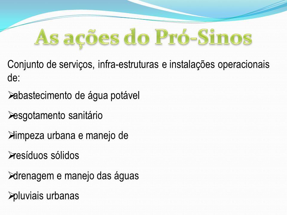 As ações do Pró-Sinos Conjunto de serviços, infra-estruturas e instalações operacionais de: abastecimento de água potável.