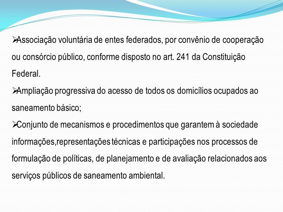 Associação voluntária de entes federados, por convênio de cooperação ou consórcio público, conforme disposto no art. 241 da Constituição Federal.