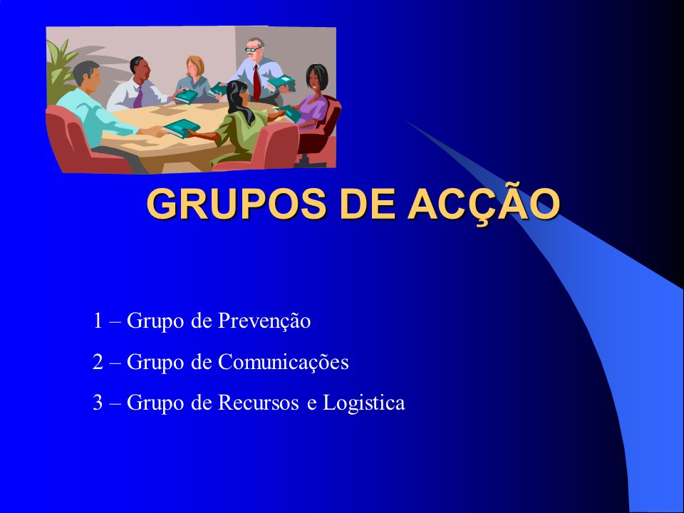 GRUPOS DE ACÇÃO 1 – Grupo de Prevenção 2 – Grupo de Comunicações