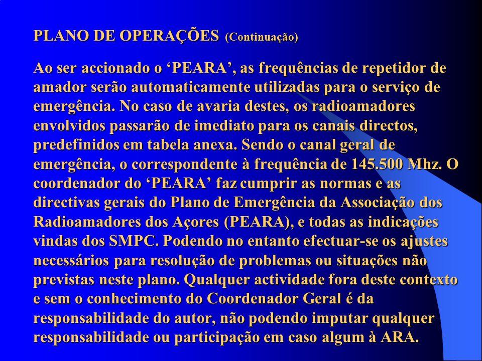 PLANO DE OPERAÇÕES (Continuação) Ao ser accionado o 'PEARA', as frequências de repetidor de amador serão automaticamente utilizadas para o serviço de emergência.