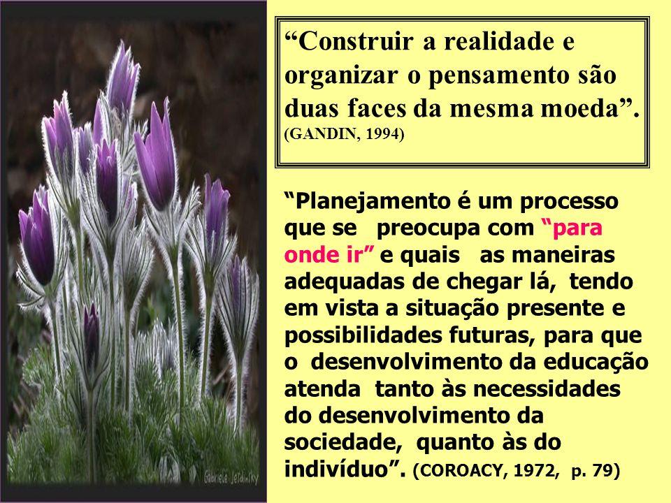 Construir a realidade e organizar o pensamento são duas faces da mesma moeda . (GANDIN, 1994)