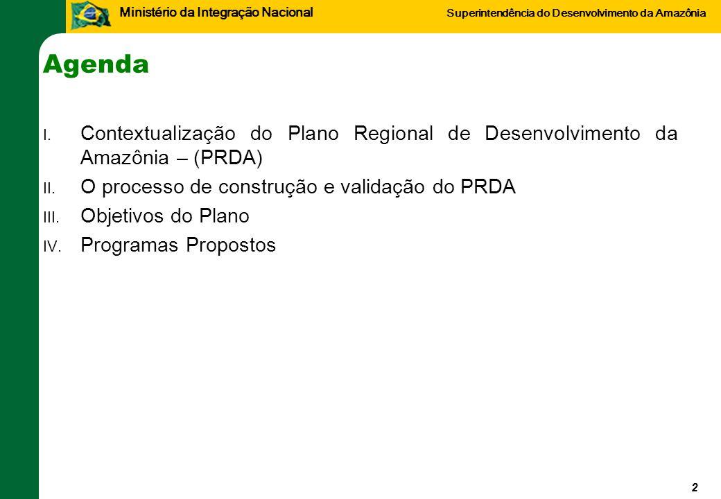 Agenda Contextualização do Plano Regional de Desenvolvimento da Amazônia – (PRDA) O processo de construção e validação do PRDA.