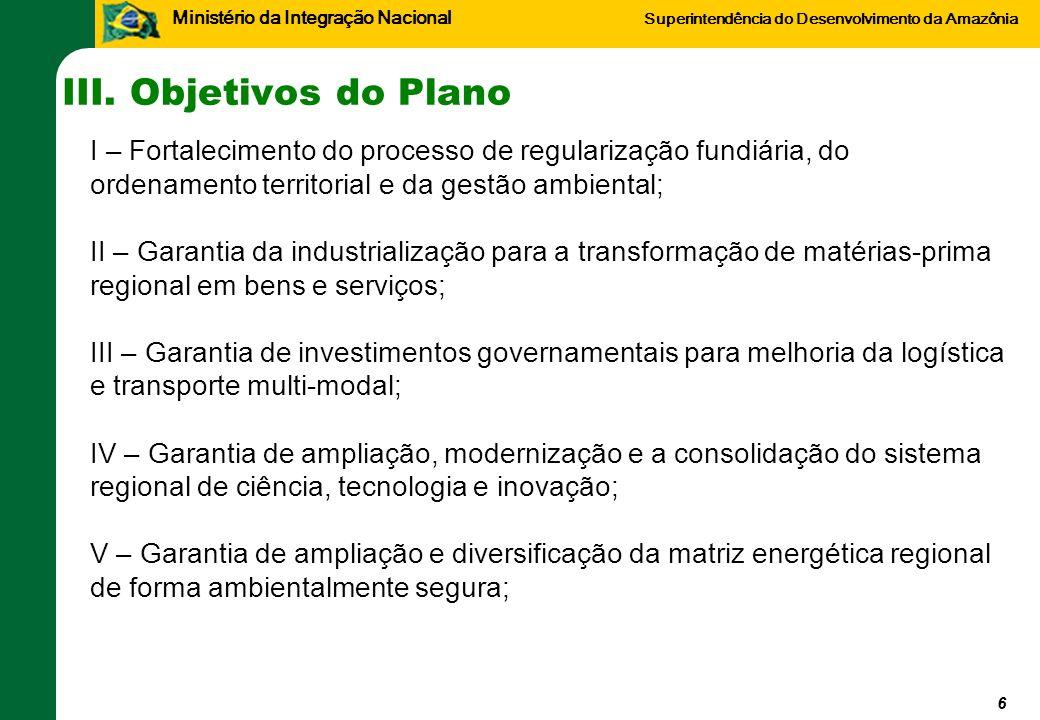 III. Objetivos do Plano I – Fortalecimento do processo de regularização fundiária, do ordenamento territorial e da gestão ambiental;