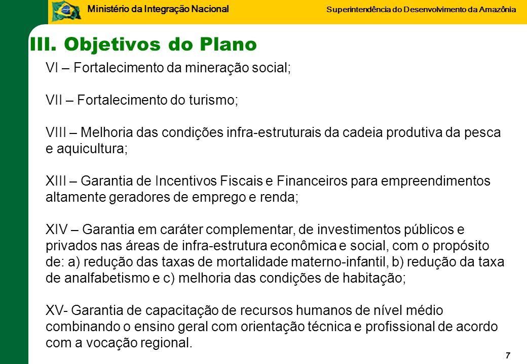 III. Objetivos do Plano VI – Fortalecimento da mineração social;
