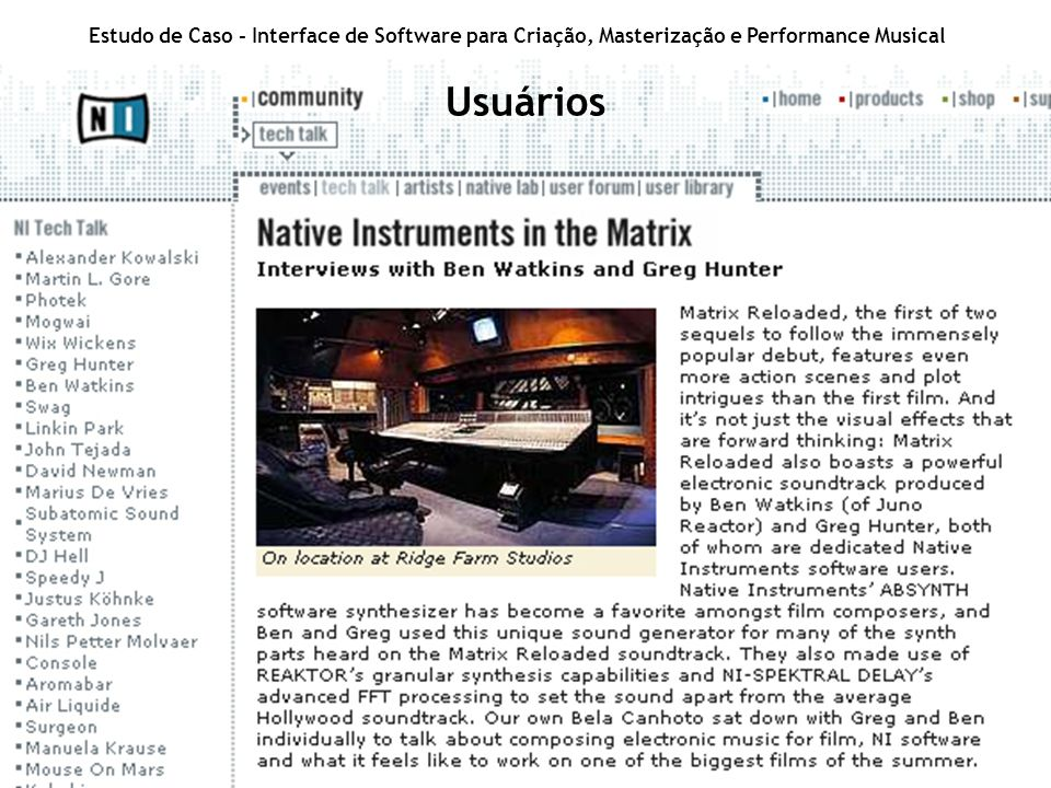 Estudo de Caso - Interface de Software para Criação, Masterização e Performance Musical