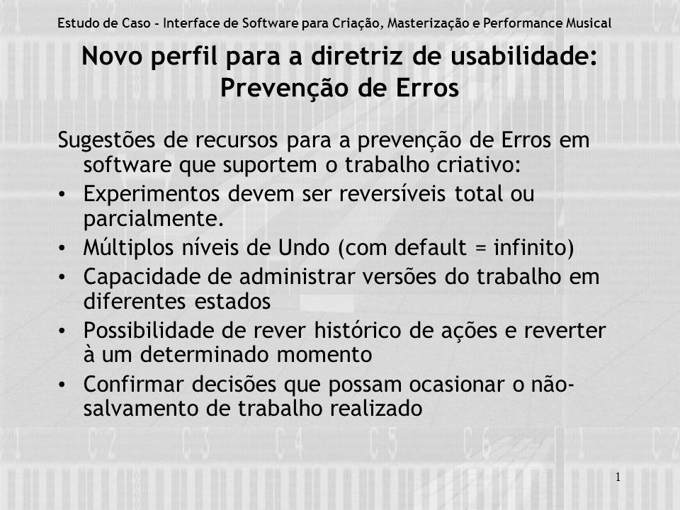 Novo perfil para a diretriz de usabilidade: Prevenção de Erros