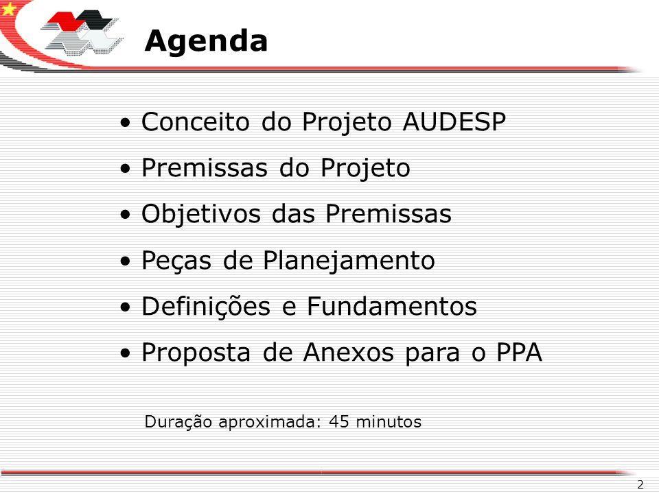 Agenda Conceito do Projeto AUDESP Premissas do Projeto