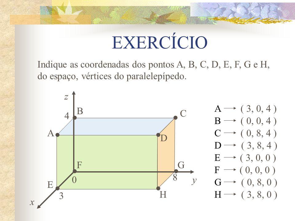 EXERCÍCIO Indique as coordenadas dos pontos A, B, C, D, E, F, G e H, do espaço, vértices do paralelepípedo.