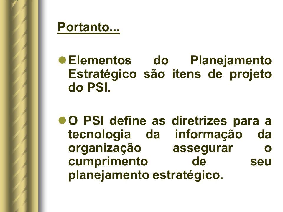 Portanto... Elementos do Planejamento Estratégico são itens de projeto do PSI.