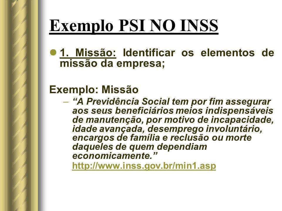 Exemplo PSI NO INSS 1. Missão: Identificar os elementos de missão da empresa; Exemplo: Missão.