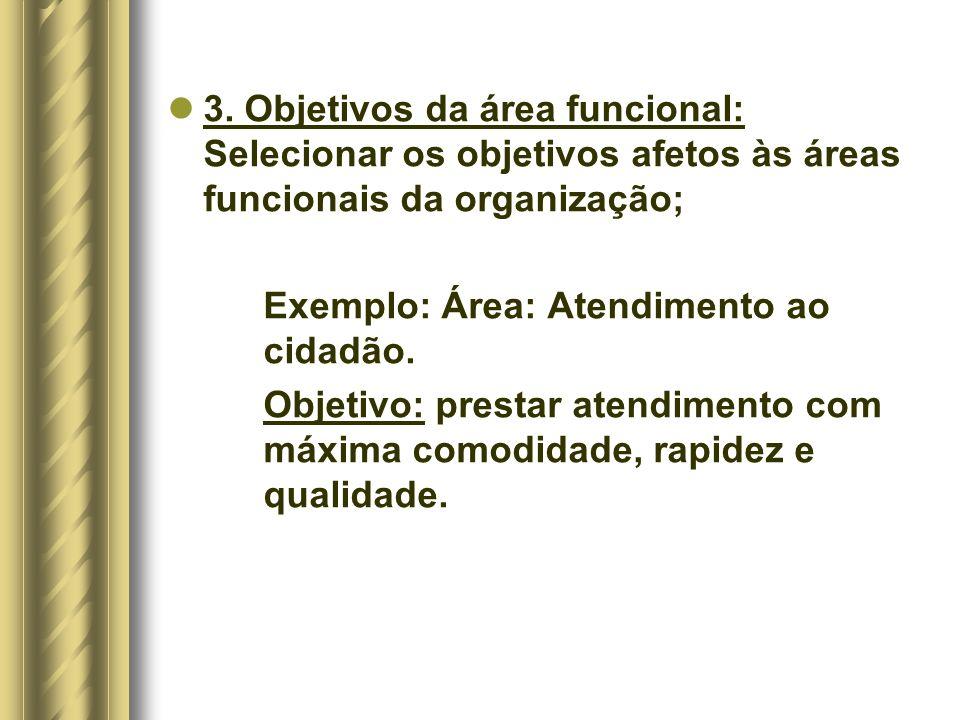3. Objetivos da área funcional: Selecionar os objetivos afetos às áreas funcionais da organização;