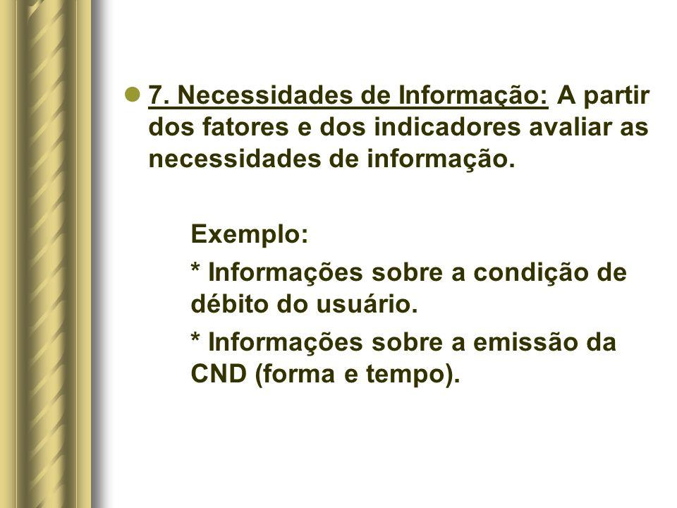 7. Necessidades de Informação: A partir dos fatores e dos indicadores avaliar as necessidades de informação.