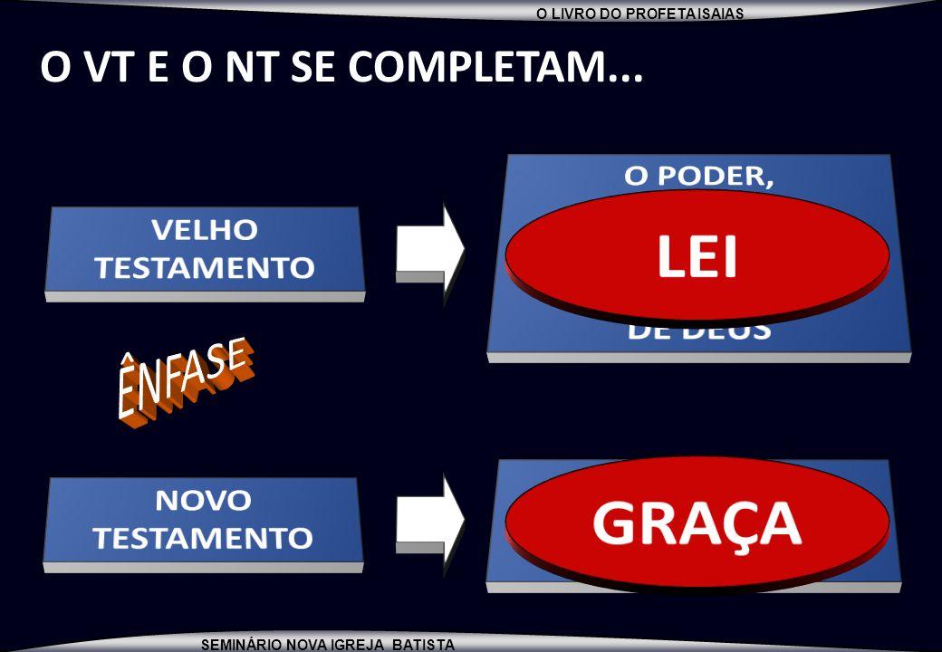 LEI GRAÇA O VT E O NT SE COMPLETAM... ÊNFASE O PODER, A MAJESTADE,