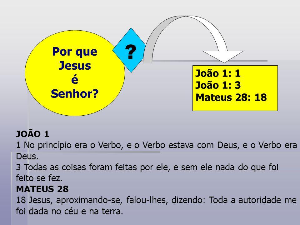 Por que Jesus é Senhor João 1: 1 João 1: 3 Mateus 28: 18 JOÃO 1