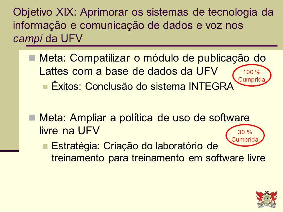 Meta: Ampliar a política de uso de software livre na UFV