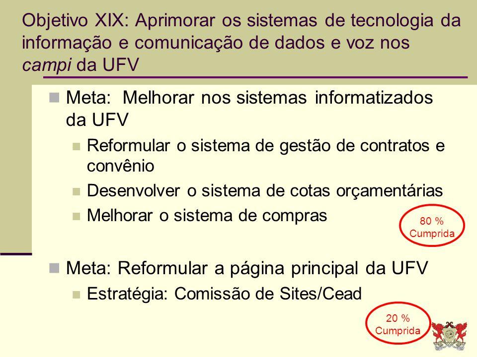 Meta: Melhorar nos sistemas informatizados da UFV