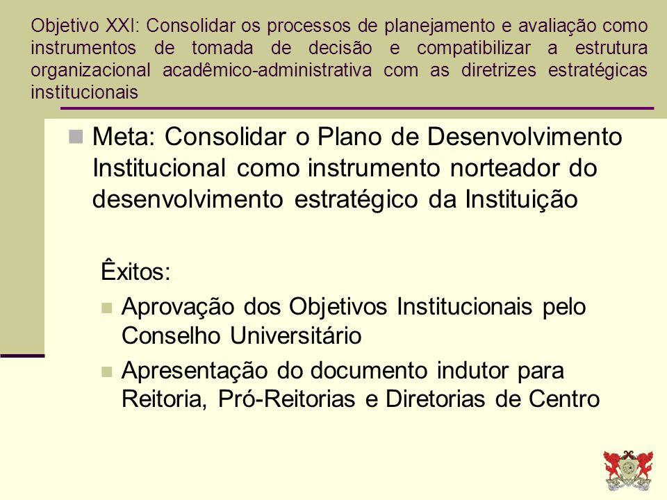 Objetivo XXI: Consolidar os processos de planejamento e avaliação como instrumentos de tomada de decisão e compatibilizar a estrutura organizacional acadêmico-administrativa com as diretrizes estratégicas institucionais