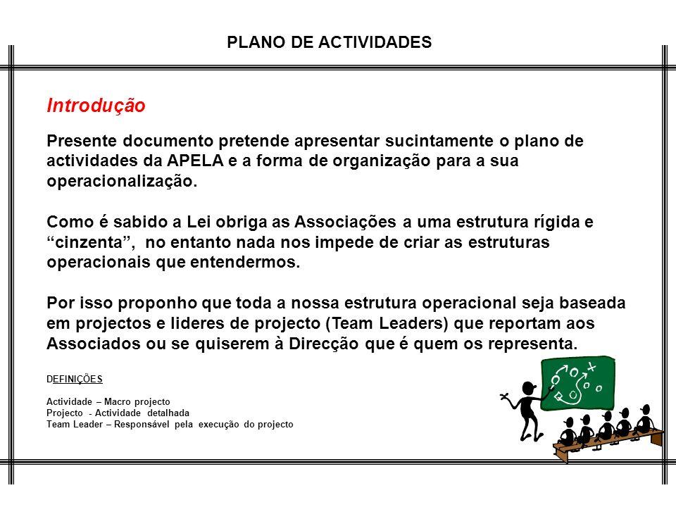 Introdução Presente documento pretende apresentar sucintamente o plano de actividades da APELA e a forma de organização para a sua operacionalização.
