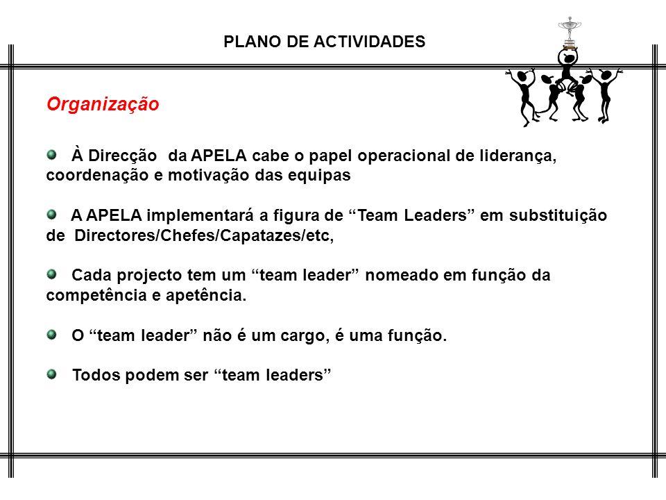 Organização À Direcção da APELA cabe o papel operacional de liderança, coordenação e motivação das equipas.