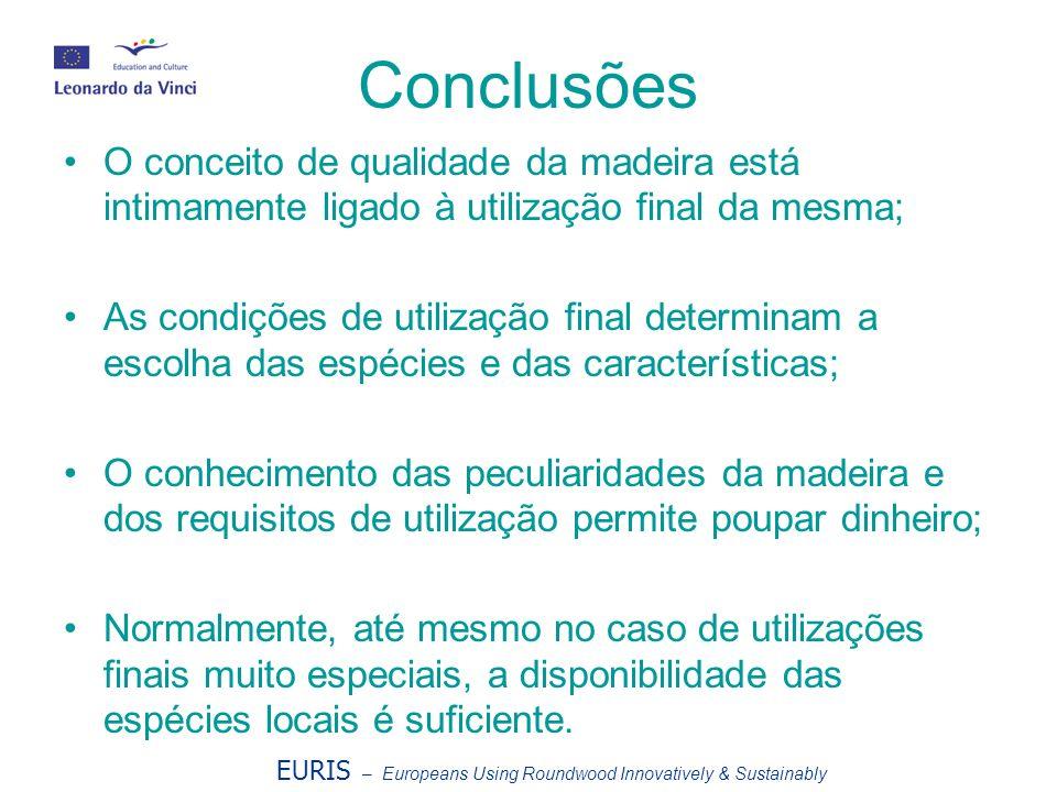 Conclusões O conceito de qualidade da madeira está intimamente ligado à utilização final da mesma;