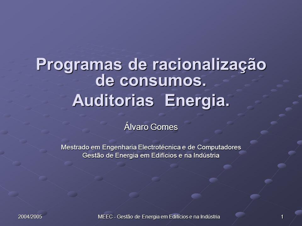 Programas de racionalização de consumos.