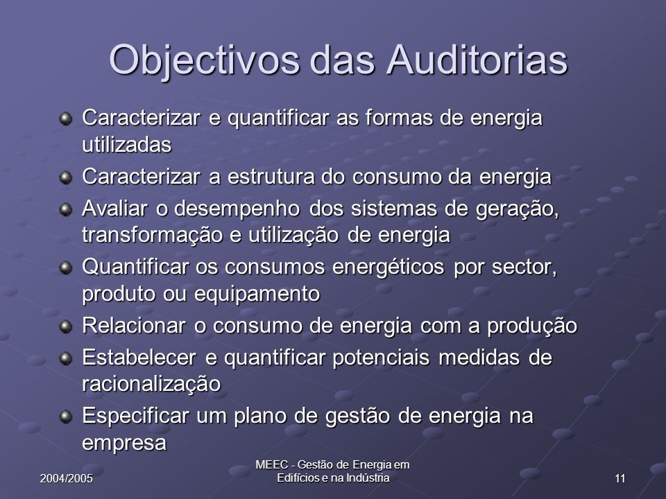 Objectivos das Auditorias