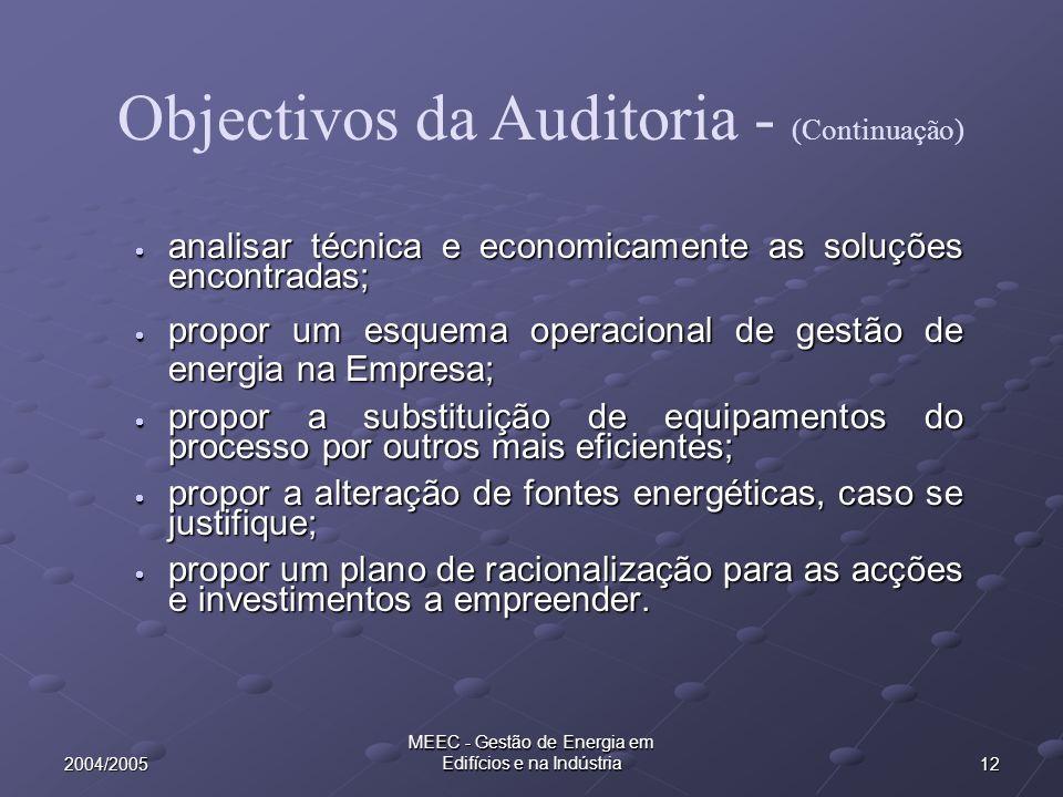 Objectivos da Auditoria - (Continuação)