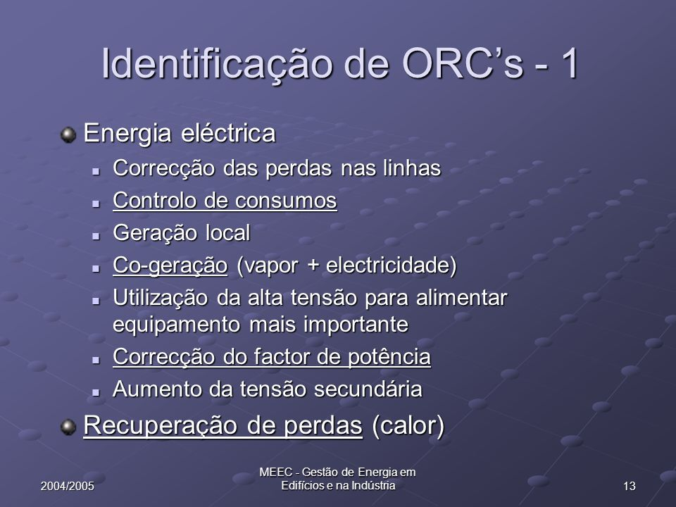Identificação de ORC's - 1