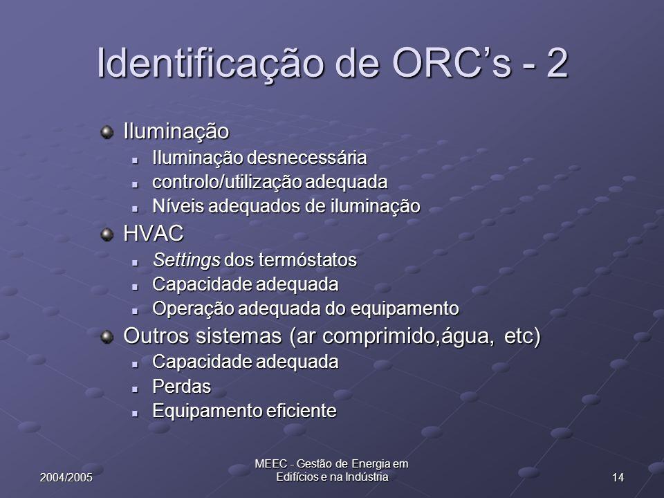 Identificação de ORC's - 2
