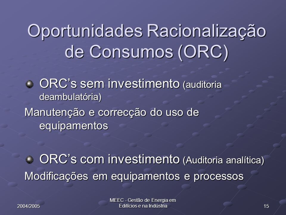 Oportunidades Racionalização de Consumos (ORC)