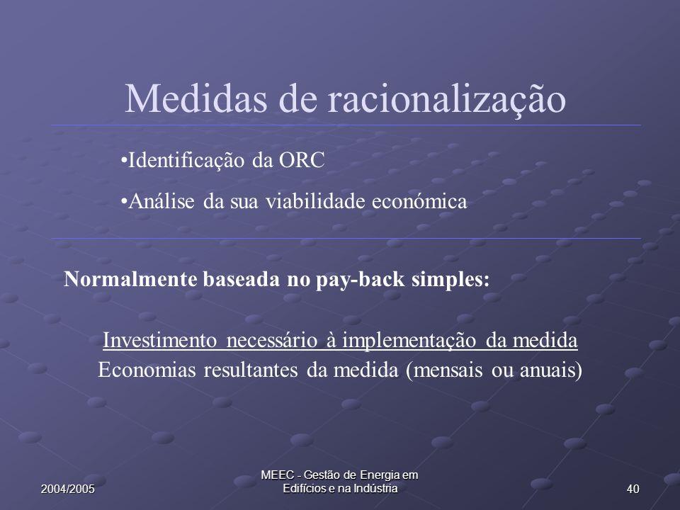 Medidas de racionalização