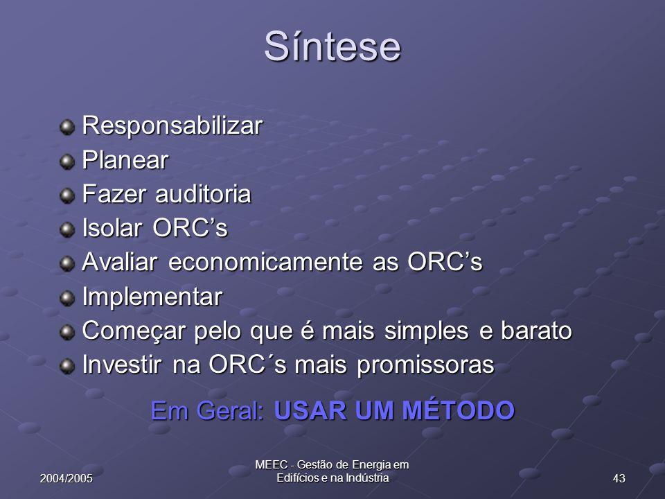 Síntese Responsabilizar Planear Fazer auditoria Isolar ORC's