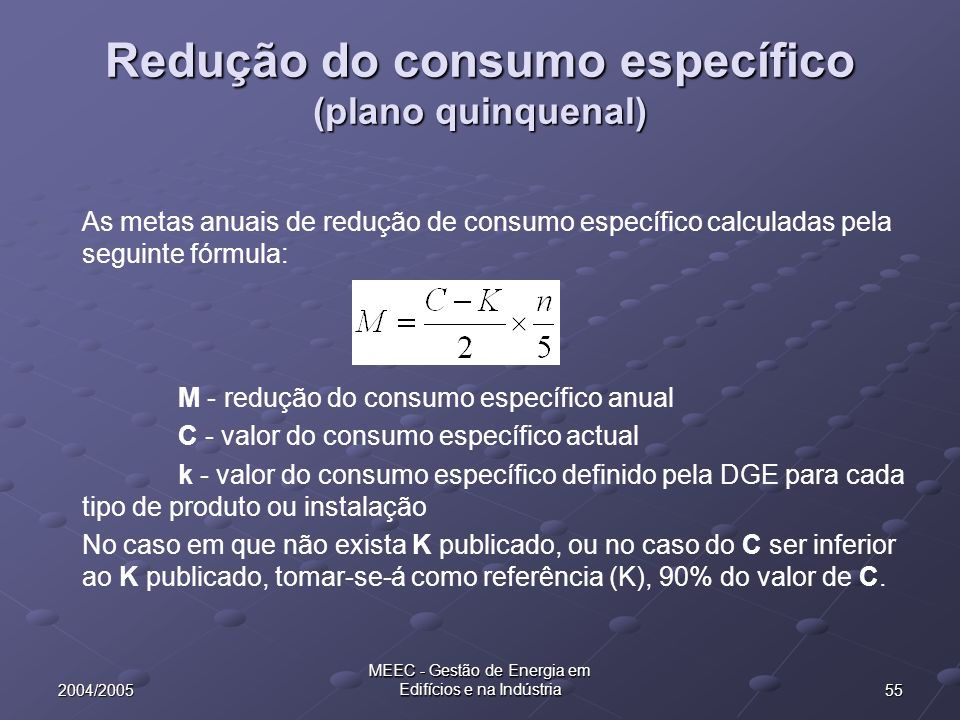 Redução do consumo específico (plano quinquenal)