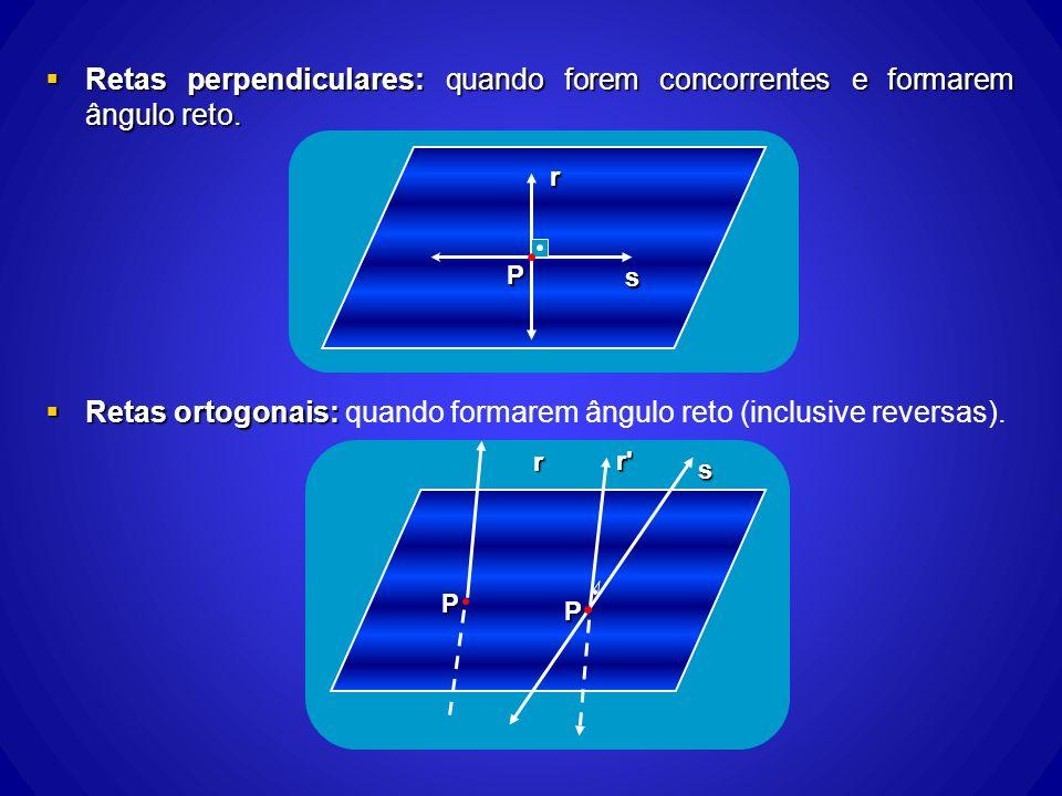 Retas ortogonais: quando formarem ângulo reto (inclusive reversas).