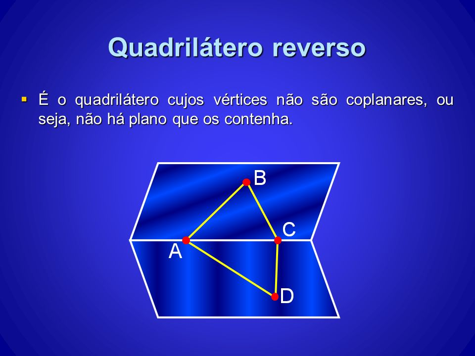Quadrilátero reverso É o quadrilátero cujos vértices não são coplanares, ou seja, não há plano que os contenha.