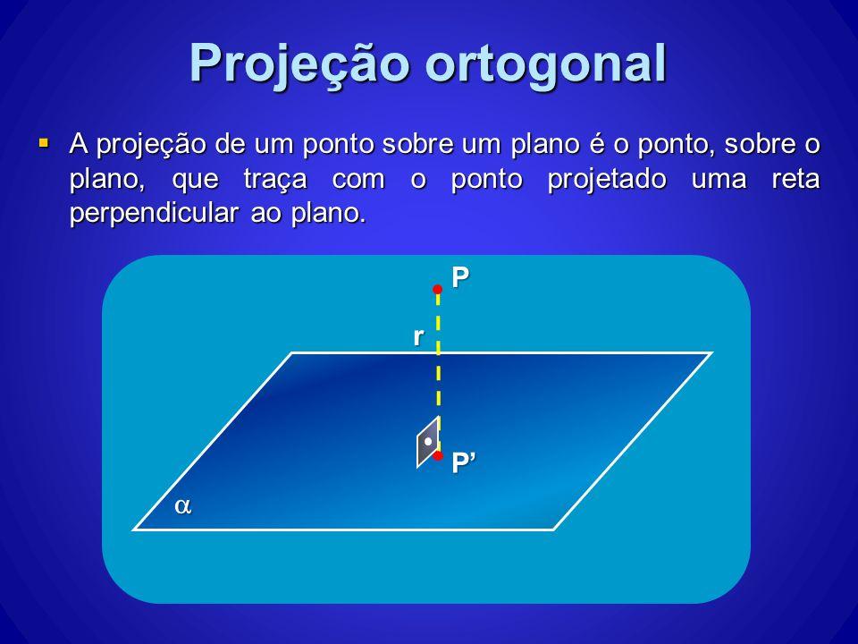 Projeção ortogonal A projeção de um ponto sobre um plano é o ponto, sobre o plano, que traça com o ponto projetado uma reta perpendicular ao plano.