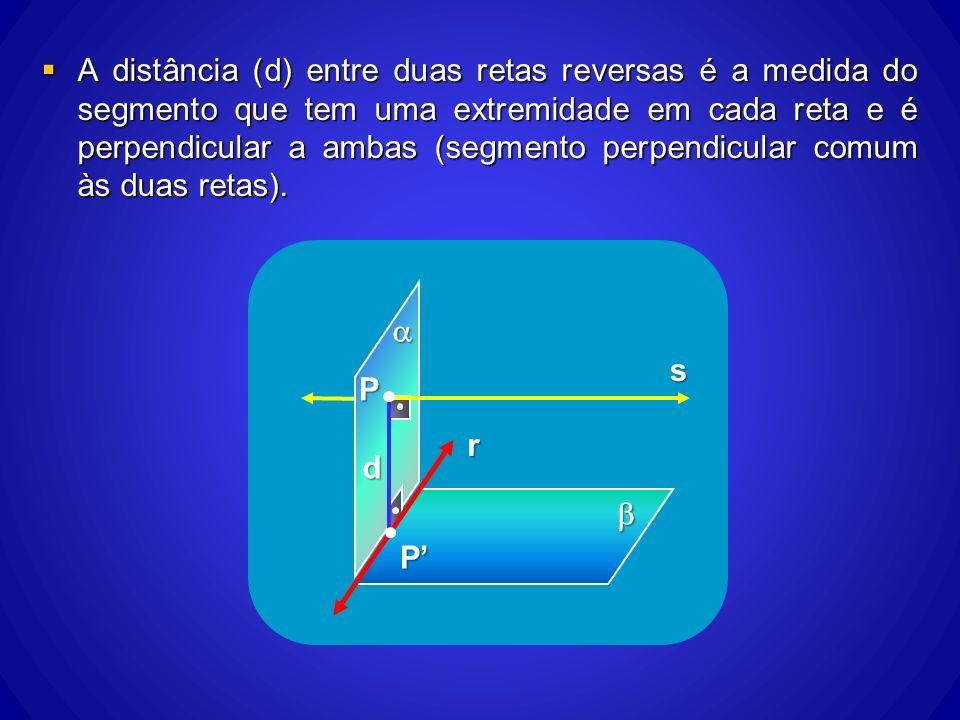 A distância (d) entre duas retas reversas é a medida do segmento que tem uma extremidade em cada reta e é perpendicular a ambas (segmento perpendicular comum às duas retas).