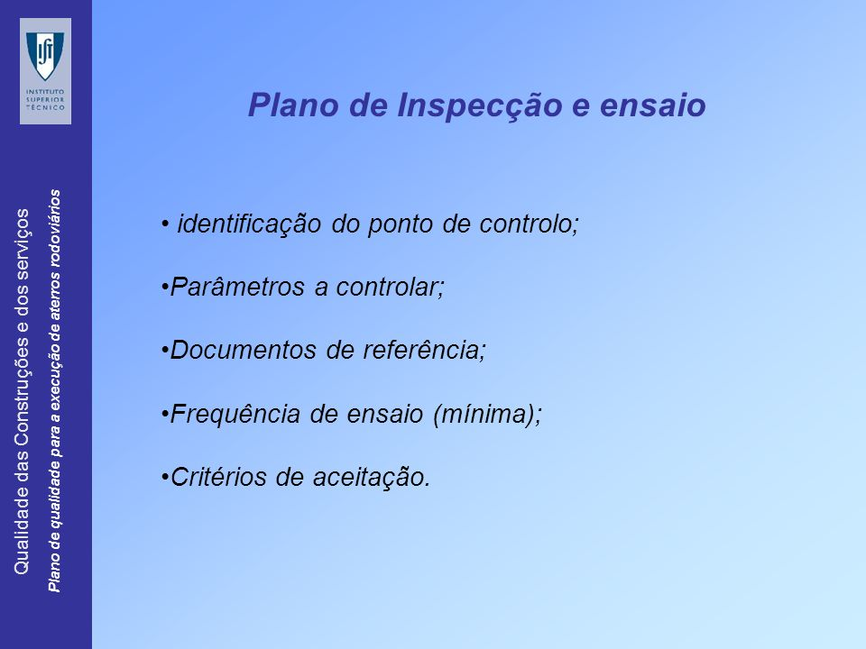 Plano de Inspecção e ensaio
