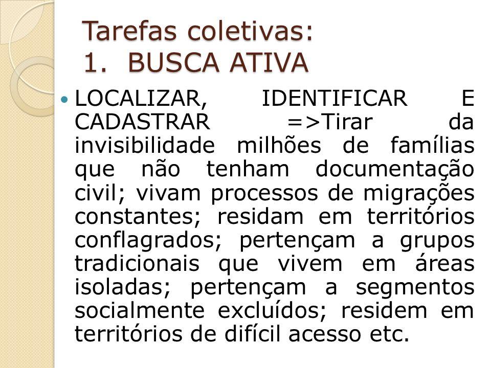 Tarefas coletivas: 1. BUSCA ATIVA