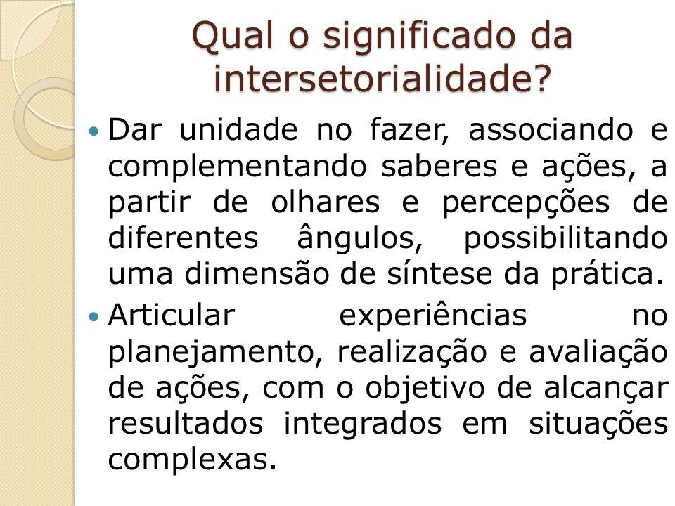 Qual o significado da intersetorialidade