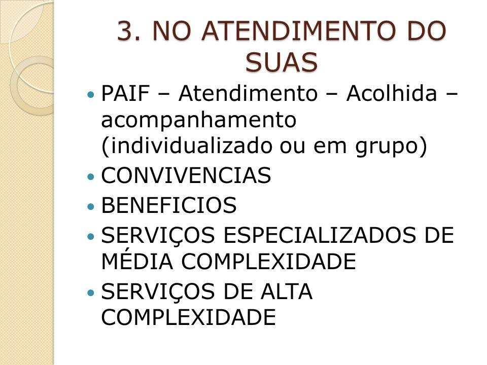 3. NO ATENDIMENTO DO SUAS PAIF – Atendimento – Acolhida – acompanhamento (individualizado ou em grupo)