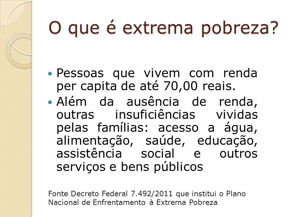 O que é extrema pobreza Pessoas que vivem com renda per capita de até 70,00 reais.