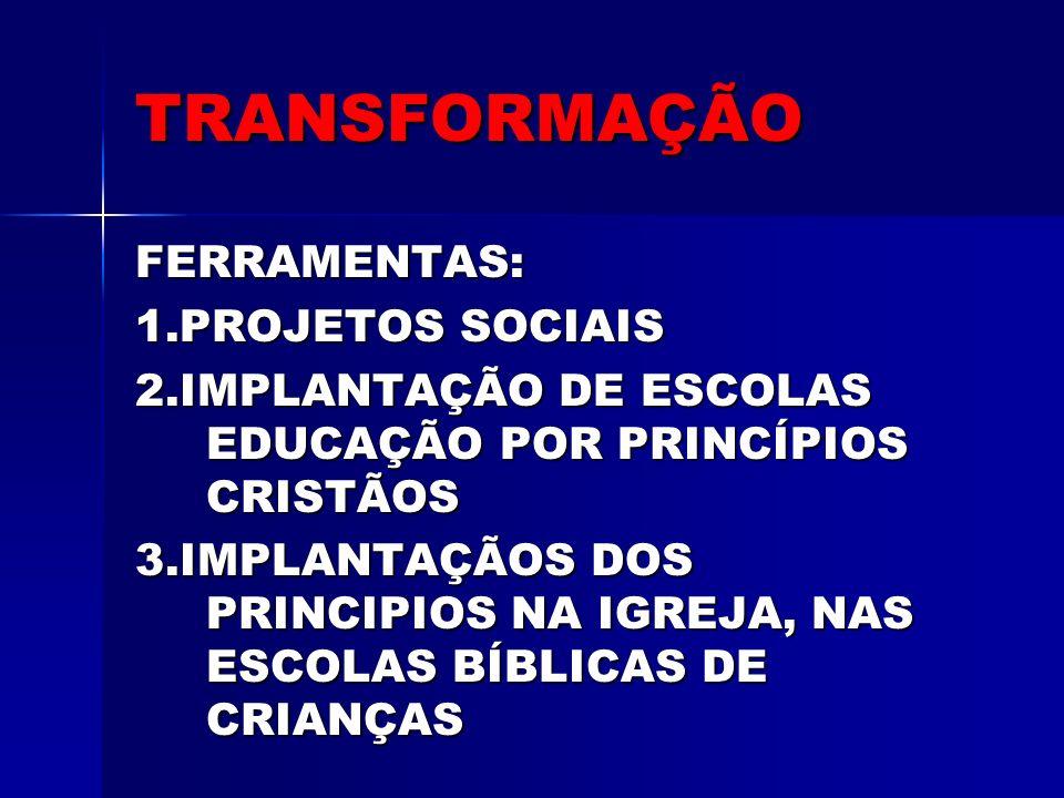 TRANSFORMAÇÃO FERRAMENTAS: 1.PROJETOS SOCIAIS