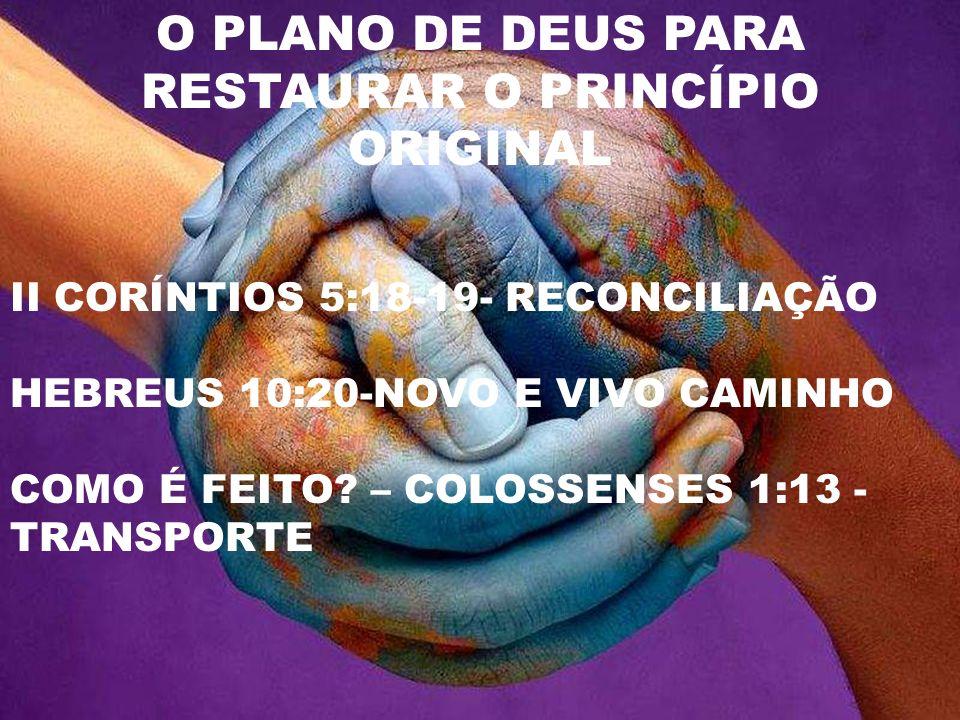 O PLANO DE DEUS PARA RESTAURAR O PRINCÍPIO ORIGINAL