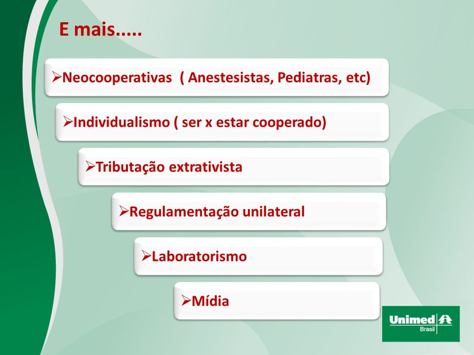 E mais..... Neocooperativas ( Anestesistas, Pediatras, etc)