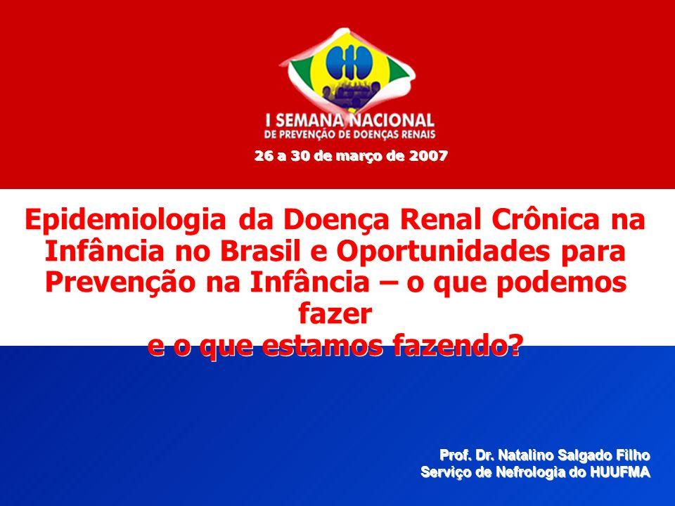26 a 30 de março de 2007 Epidemiologia da Doença Renal Crônica na Infância no Brasil e Oportunidades para Prevenção na Infância – o que podemos fazer.